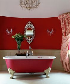 awesome 50 Magnificient Red Wall Design Ideas For Bathroom Bathroom Wall Storage, Wall Storage Cabinets, Bathroom Red, Large Bathrooms, Rustic Bathrooms, Family Bathroom, Decor Interior Design, Interior Decorating, Victorian Bathroom