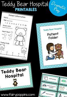 Teddy Bear Hospital dramatic play center and printables ~ Fairy Poppins Teddy Bear Crafts, Teddy Bear Day, Teddy Bears, Bears Preschool, Kindergarten Centers, Preschool Themes, Preschool Kindergarten, Early Learning Activities, Rainbow Activities