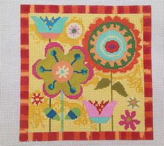 Birds of A Feather Fall Garden Hand Painted Needlepoint Canvas 13 Count | eBay - $97