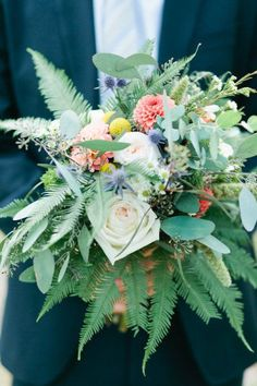 love this wild bouquet by Mums Flowers / Photography By / Jeremy and Alicia Brown Photography: