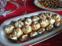 Il Pomodoro Rosso di MAntGra: Bignè e datteri con crema di gorgonzola, mascarpone e noci