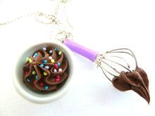 The Bakers Necklace  Miniature whisk charm topped with Chocolate frosting and Ceramic Mixing Bowl with frosting graet gift for bakers