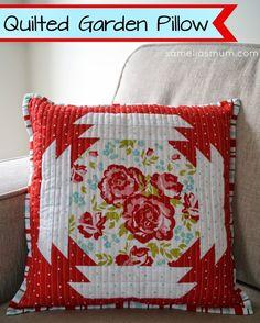 Quilted Garden Pillow {Free TUTORIAL}