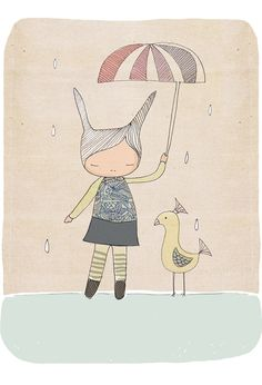 Children Wall Art - Rabbit Print with Bird. $16.00, via Etsy.