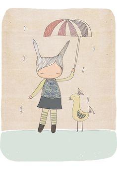Kids Wall Art  Rabbit and Bird  Art Print 21x297cm by honeycup, $16.00