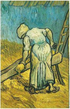 Peasant Woman Cutting Straw (after Millet) by Vincent Van Gogh Painting, Oil on Canvas Saint-Rémy: September, 1889