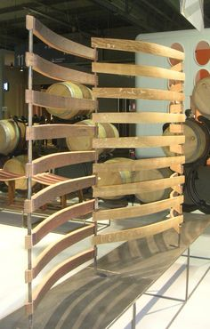 Room divider made from reclaimed wine barrel slats. @Milan 2012