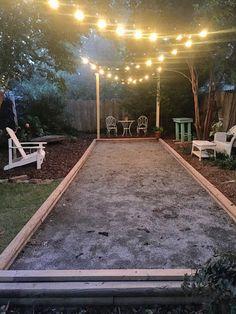 mollie's mom backyard boules court, bocce, backyard, build your own bocce court, family fun, entertaining,