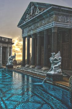 Neptune Pool, The Hearst Castle, San Simeon, California Architecture Baroque, Ancient Architecture, Beautiful Architecture, Beautiful Buildings, Architecture Design, Beautiful Places, San Simeon, Travel Aesthetic, Aesthetic Pictures