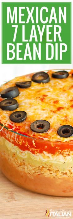 7 Layer Bean Dip is loaded with layers of cheesy rice, beef and refried beans! Make this Mexican dip recipe for a full meal or party snack. #Mexican7LayerBeanDip #BeanDip #Appetizer Yummy Appetizers, Appetizer Recipes, Snack Recipes, Tailgating Recipes, Party Recipes, Party Snacks, Dinner Recipes, Mexican Bean Dip, Mexican Dip Recipes
