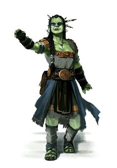 Female Orc or Half-Orc Oracle or Shaman - Pathfinder PFRPG DND D&D d20 fantasy