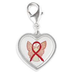 Red Ribbon Angel Charms