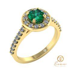 Inel de logodna din aur cu smarald si diamante ES72 Aur, Petra, Bracelet Watch, Watches, Bracelets, Accessories, Jewelry, Fashion, Wrist Watches