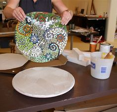 double indirect method - different method for pre-making mosaics designs on sticky paper before thinset step.