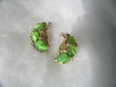 Trifari Green Pear and Gold Earrings by KathatKreations on Etsy, $67.95