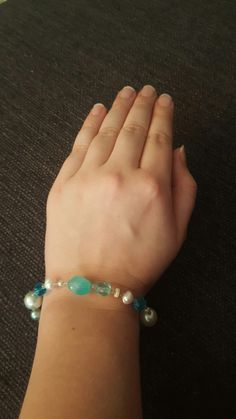 DIY bracelet blue aqua white