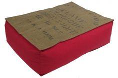 Coussin de sol sac de café recyclé (toile de jute)- fushia, Lilokawa