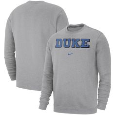 Duke Blue Devils Nike Club Fleece Crew Sweatshirt Heathered Gray   DukeBlueDevils f5d404d7c