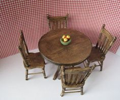 Dollhouse table,four kitchen chairs, round table, country table, dark oak table, twelfth scale, dollhouse miniature