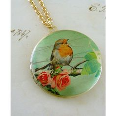 Locket Necklace Mint Green Rose and Bird Vintage Necklace ($34) ❤ liked on Polyvore featuring jewelry, necklaces, pendants & necklaces, round pendant necklace, vintage brass necklace, long chain necklace and locket necklace
