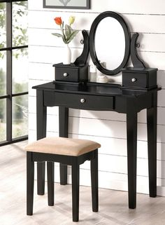 2PC Bedroom Makeup Vanity Table Set With Vanity Stool, Mirror And Storage Drawers In Black Wood Finish. (Item# Vista Furniture PD4057)