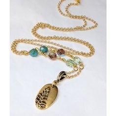 Long Gold Oval Tree Pendant Necklace, Glass Beaded Necklace, Redwood... ($28) ❤ liked on Polyvore featuring jewelry, necklaces, gold pendant necklace, long pendant necklaces, yellow gold pendant necklace, gold pendant and gold necklace