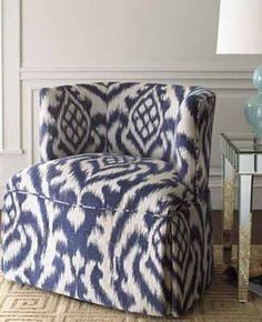 Ethnic Ikat Pattern in Modern Interior Design Traditional Chairs, Blue And White Fabric, Ikat Pattern, Upholstered Furniture, Nice Furniture, Reclaimed Furniture, Coaster Furniture, Furniture Design, Modern Interior Design