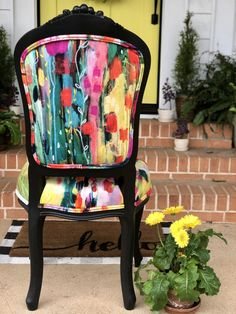 IMG_6436 Diy Chair, Chair Fabric, Old Chairs, Pink Chairs, Floral Chair, Blue Velvet Dining Chairs, Polywood Adirondack Chairs, French Chairs, Chairs For Sale