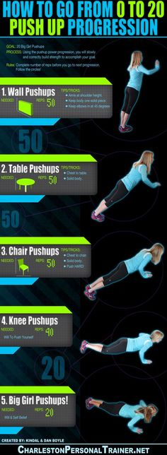 Great workout to help you improve your push-up and be able to do 20 real (no…