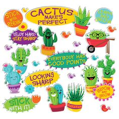 A Sharp Bunch Positive Words Mini Bulletin Board Set, cactus classroom decor, bulletin board idea