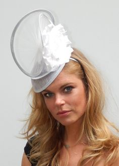 f2d15eda763 Dutch design made with passion white silvergrey bridal headpiece with silk  flower and tule on aliceband