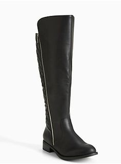 """<div>We're calling it quilts! The chic stitch lends instant sophistication to these sumptuous black faux leather knee-high boots. The gold tone zipper is a final flashy touch.</div><div><br></div><div>Calf fit by size:</div><div>6 fits up to 17.7""""</div><div>6.5 - 18.1""""</div><div>7- 18.5""""</div><div>7.5 - 18.89""""</div><div>8 - 19.29""""</div><div>8.5 - 19.6""""</div><div>9 - 20.07""""</div><div>9.5 - 20.47""""</div><div>10 - 20.8""""</div><div>10.5 - 21.25""""</div><div>11 - 21.6""""</div><div>11.5…"""