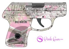Pink Gun - Ruger LCP .380 semi-automatic pistol pink branches decoration concept at http://www.PinkGun.com