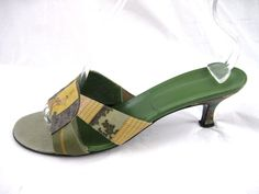 Icon womens sz 10M green Asian Oriental kitten heel mules sandals ladies shoes  #Icon #Mules #Casual
