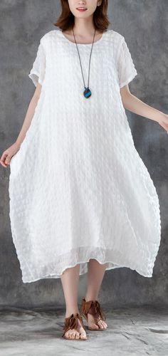 6fd562b729f stylish linen blended sundress trendy plus size Women Short Sleeve Plain  White Pullovers Dress
