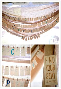 hanging tag escort cards - have them on a garland with other stuff so that when the flags are mostly gone there will still be something other than an empty string
