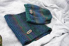 Blue Green Violet Women Hand Knitted 2 Set / Violet Blue Green