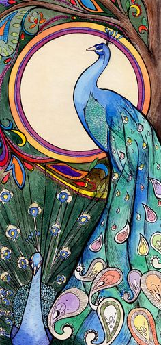 Peacocks Art Nouveau Watercolor and Pen and Ink Illustration by Amalia Hillmann of The Eclectic Illustrator