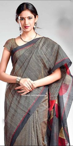 Bengal Handloom: Sananda Indian Attire, Indian Ethnic Wear, Indian Outfits, Traditional Sarees, Traditional Dresses, Indian Fashion Trends, Simple Sarees, Elegant Saree, Saree Dress