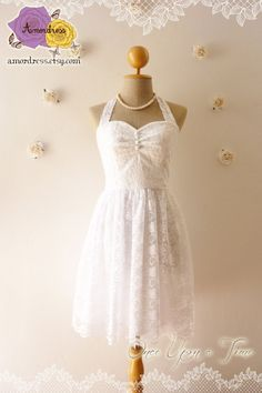 White Lace Dress Vintage Inspired Lace Dress Party by Amordress, $57.50
