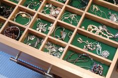 Never again will your jewellery get tangled with this detailed drawer #design.