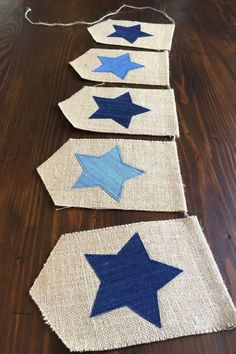 This denim star bunting is a classic for Memorial Day or the Fourth of July. Would also be super cute hanging in your little one's bedroom, playroom