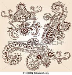 Henna Doodles Mehndi Tattoo Designs View Large Illustration