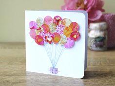 Balloons Greeting Card - Happy Birthday Card - Baby Girl Card - Childs Birthday Card - Birthday Card for Girls - Blank Cards by Gaynor BH08 by CardsbyGaynor on Etsy