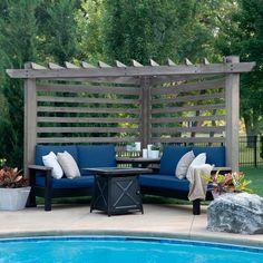 Backyard Seating, Backyard Patio Designs, Backyard Landscaping, Backyard Cabana, Backyard Ideas, Pool Cabana, Patio Ideas, Garden Ideas, Backyard Pergola