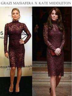grazixkate Grazi x Kate Middleton: Quem ficou melhor com o mesmo vestido?