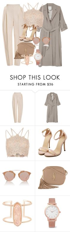 """""""Nude Love"""" by sudecbk ❤ liked on Polyvore featuring Delpozo, Monki, River Island, Christian Dior, Yves Saint Laurent, Kendra Scott and Larsson & Jennings"""