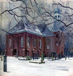 De Margaretha Hardenbergkerk in Wildervank op een schilderij van Geert Schreuder