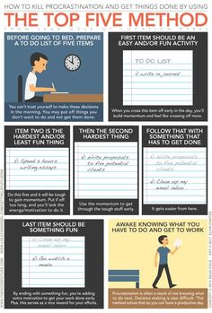 """elvindantes: """" THE TOP FIVE METHOD A productivity approach inspired by an article from entrepreneur Sean Ogle of Location Rebel. Related: The Pomodoro Technique, 24 Tips to Overcome Procrastination """" Fun Activities To Do, Productivity Hacks, Time Management Tips, Business Management, Self Improvement Tips, Study Motivation, Sales Motivation, Self Development, Professional Development"""
