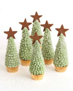 Christmas Tree Cupcakes Christmas Dessert Ideas and Recipes | Martha Stewart Living — Serve this snowy dessert this holiday season.